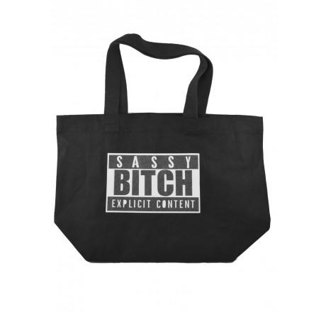 darkside sassy bitch glitter tote bag