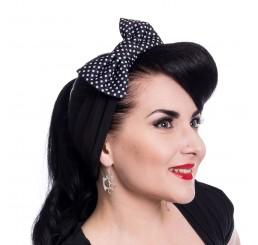 Rockabella Bailie rockabilly headband ladies polka dot black headscarf
