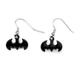 Batman Logo Black Dangle Earrings