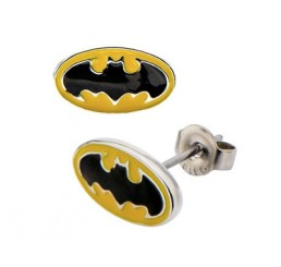 Batman Logo Steel Stud Earrings Yellow/Black
