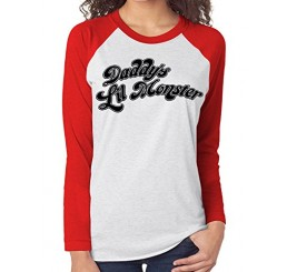 Harley Quinn Suicide Squad Daddys Little Monster Raglan top