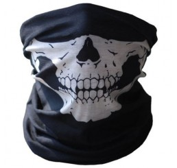 Poizen Industries 'Ghost' Skull Print Half Hood Snood