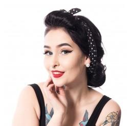 Rockabella rockabilly headband ladies polka dot black headscarf