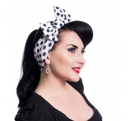 Rockabella Jolene rockabilly headband ladies white with large black polka dots headscarf