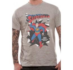 Superman - Comic Cover Burst Grey T-shirt