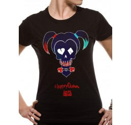 Suicide Squad Harley Quinn Skull Icon Ladies Fitted T-Shirt