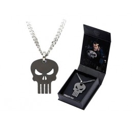 Marvel The Punisher Black Skull Pendant with Chain Necklace