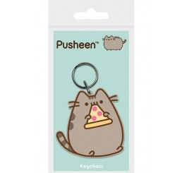 Pusheen Pizza Rubber Keychain