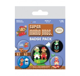 Nintendo Super Mario Bros Badge Set