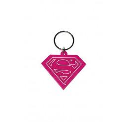 Superman/Supergirl logo keychain pink