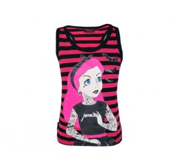 Tattoo Princess Stripey Black and Pink Vest