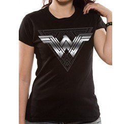 Wonder Woman Movie Silver Foil triangle W Logo T-Shirt